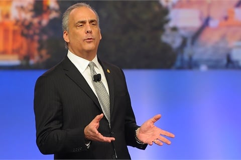 2017 NADA Chairman Mark Scarpelli called for harmony among auto dealers and OEMs as part of an address to conventiongoers in Las Vegas last week. Photo courtesy NADA