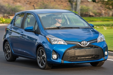 "Toyota has pledged to install its ""Safety Sense"" technology throughout its lineup, including the subcompact Yaris. In response to an investment analyst's question, AutoNation's Mike Jackson said advanced safety tech could adversely affect the sales and values of older used units. Photo courtesy Toyota Motor Sales USA Inc."
