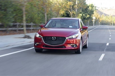 Values for compact cars such as the Mazda3 are up 3.4% over the last 12 months, leading — and helping to stabilize — the pre-owned market, according to Black Book. Photo courtesy Mazda North America