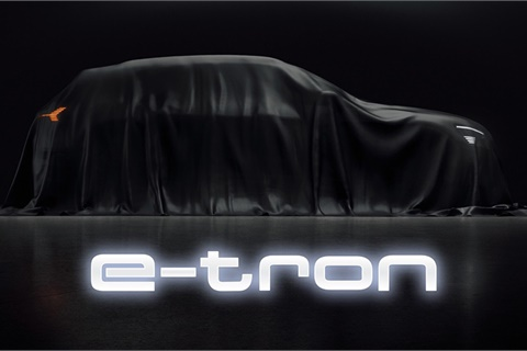 """Audi's upcoming e-tron is a fully electric, five-passenger SUV """"aimed at the heart of the premium market,"""" according to the factory. The new machine, full specs, and online ordering will be unveiled Sept. 17. Photo courtesy Audi of America"""