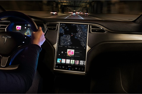 Cybersecurity expert Daniel Regalado will demonstrate at DefCon 26 a vulnerability in tablet-style in-vehicle displays such as that found in the Tesla Model X; it is not known what vehicle Regalado and his team claim to have successfully hacked. Photo courtesy Tesla Inc.