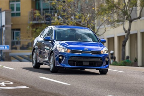 The Kia Rio was No. 1 among small mass-market vehicles in J.D. Power's rankings of in-vehicle technology quality and reliability. Photo courtesy Kia Motors Corp.