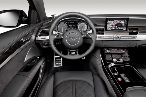 Audi offers a nine-speaker Bang & Olufsen stereo system in its S8 sedan, helping to meet the demand for premium-brand audio systems among new-car buyers. Photo courtesy Audi AG