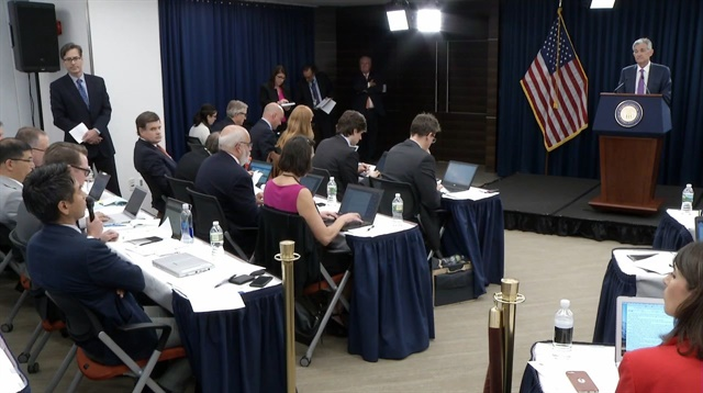 FOMC Chairman Powell answers reporters' questions during Wednesday's press conference.