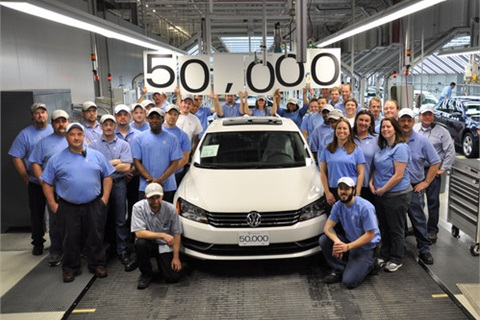 The team at Volkswagen Chattanooga complete its 50,000th vehicle of the VW Passat model, listed in the top sedans of the year.