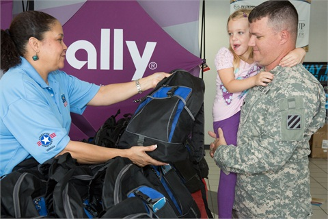 Military children were given backpacks at a recent fundraiser sponsored by Ally Financial and Jay Automotive Group.
