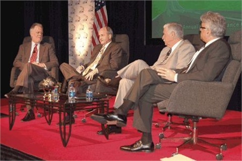 Kevin Westfall(L) warned finance sources not to eliminate dealer participationduring a roundtable discussion at the 2010 Vehicle Finance Conference. He was joined by dealersForrest McConnell, Stephen Wade and Ed Tonkin.