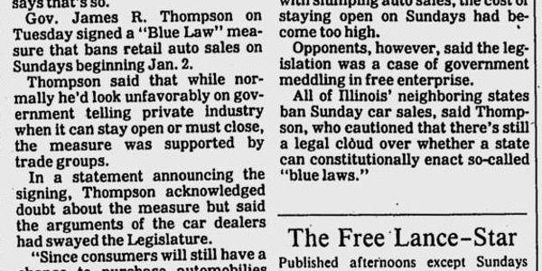 Illinois Senator Proposes Repeal of 'Blue Law'