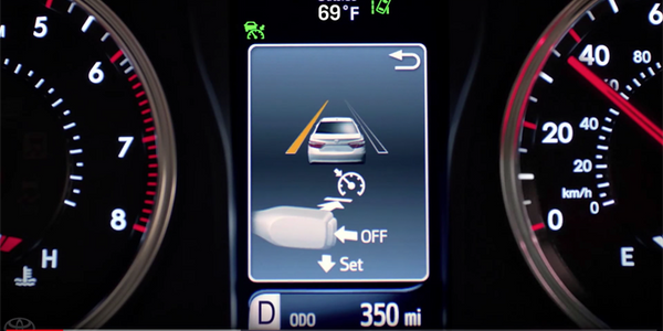 Screen shot illustrating Toyota's Safety Sense Lane Departure Alert system controls. Image...