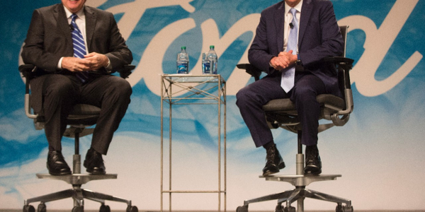 Executive Chairman Bill Ford (right) and Hackett met with employees and members of the press to...