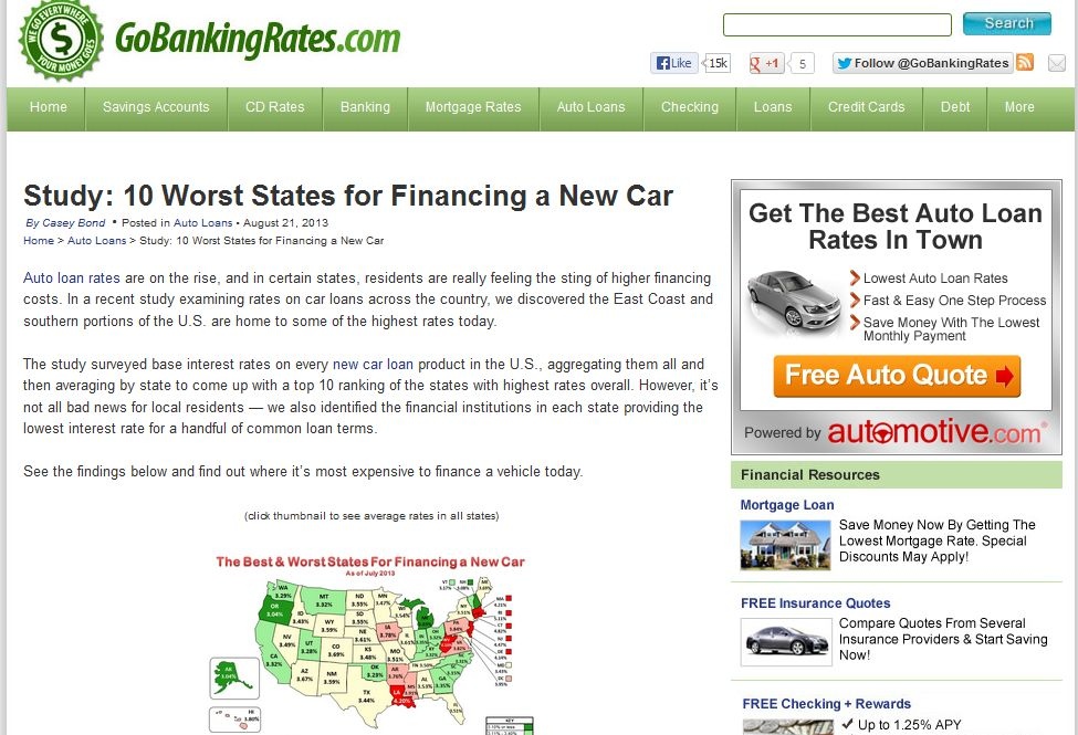 GoBankingRates.com: Rhode Island Tops 10 Worst States for Financing a New Car