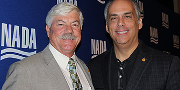 NADA incoming chairman Jeff Carlson (left) and incoming vice chairman Mark Scarpelli (right) at...