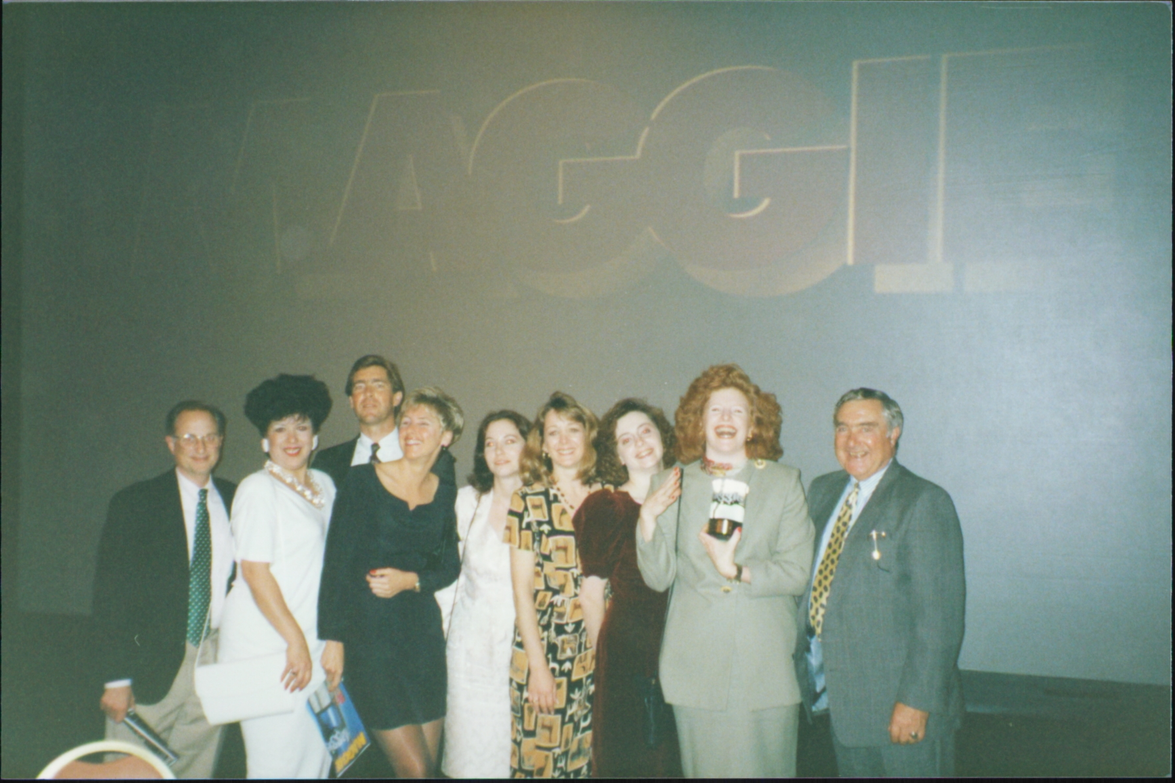 At the 1993 Maggie Awards with the NAILS Magazine team, who won Best Special Interest Publication.