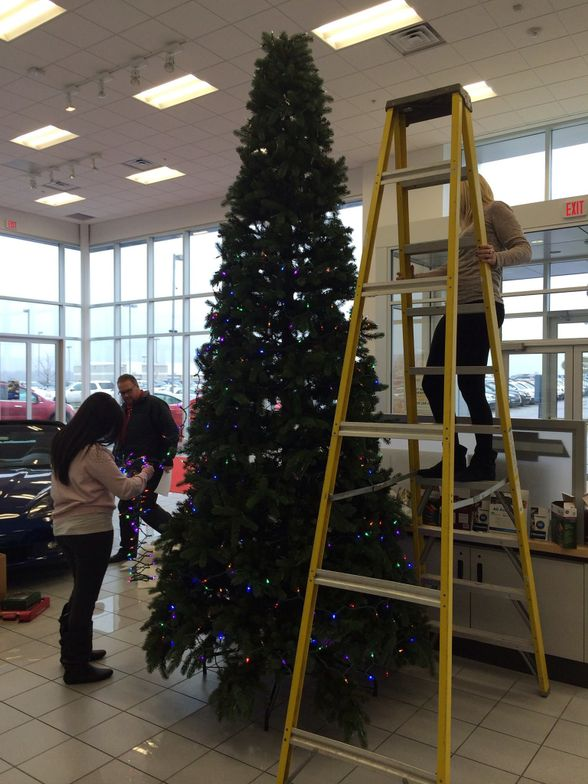 The tree is almost ready at Billion Chevrolet Buick GMC Cadillac.