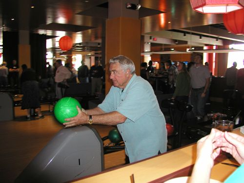 One year, the company took its Christmas party to the bowling alley and Ed could strike with the...