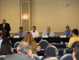 """The """"Busting Compliance Myths"""" panel included (l-r) Micahel Tuno, Jim Ganther, David Robertson,..."""
