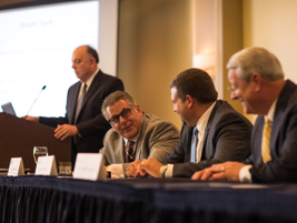 """The """"Shark Tank"""" panel was moderated by Bob Harkins. The panelists included (l-r) Gerry Gould,..."""