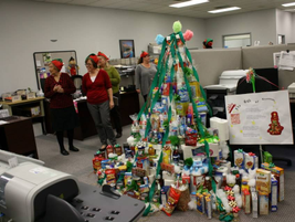 """Thompson Auto had a tree decorating contest. This is the """"Gift of Necessities"""" Tree."""